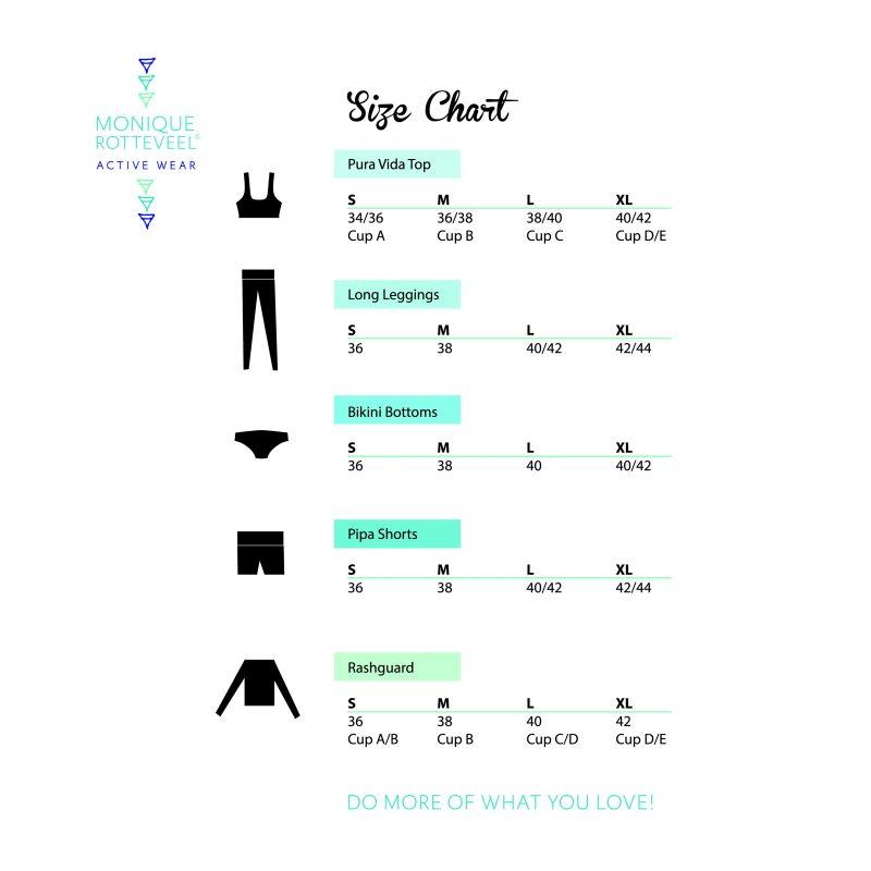Size Chart Monique Rotteveel Active Wear Surf Yoga Surfbikini