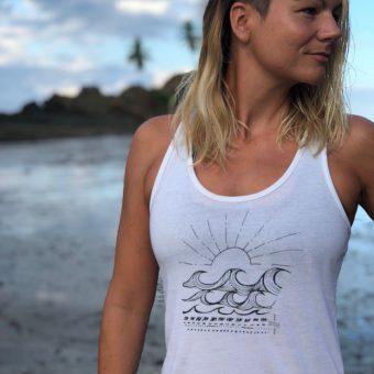 Monique Rotteveel white top waves yoga top surf tanktop