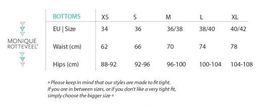 Bottoms Size Guide | Monique Rotteveel surf