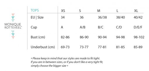 Size Guide | Monique Rotteveel Top