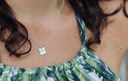 maui silver necklace aloha